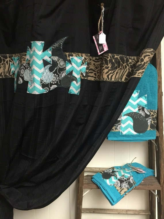 Black Shower Curtain With Teal Chevron Print Crosses And