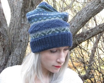 Blue Slouchy Hat, Upcycled Sweater, Lambswool Slouchy Hat, Colorful Slouchy Hat, Handmade Slouchy Hat, Warm Slouchy Hat, Thick Hat