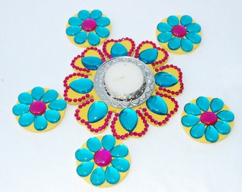 Floating Rangoli with tea light candle Diya - 6 pc set