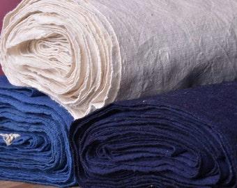 Old Shanghai Hand Woven Cloth, Ancient Coarse Fabric, Pure White, Indigo, Cobalt Blue