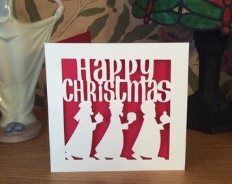 Pack Of 5 Christmas Cards - Three Kings Christmas Card - Papercut - Xmas Card - Happy Christmas Card - Set Of - 5