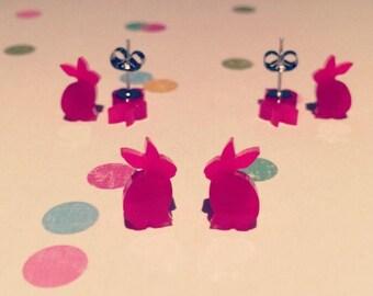 Hot Pink Bunny Earrings - Rabbit Earrings - Pink Earrings - Animal Earrings