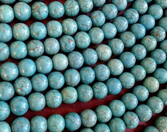Bulk 35 pcs, 12mm Turquoise Beads, Howlite Beads, Turquoise Beads, Blue Turquoise Beads, Spacer Beads, Craft and Jewelry Supplies, Finding