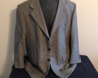 Men's Houndstooth Blazer, Colors Black & Tan. Made in Italy
