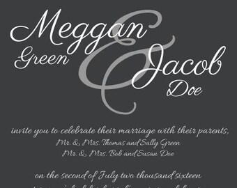 Simple Elegance Wedding Invitation Printable