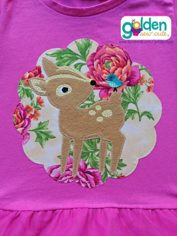 Easter Deer Floral Girl Spring Tee