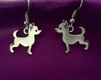 Adorable Silver Chihuahua Dangle Earrings