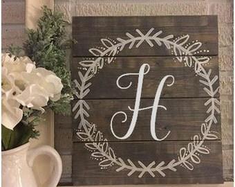 12x14 Custom Monogram Laurel Wreath Wooden Sign