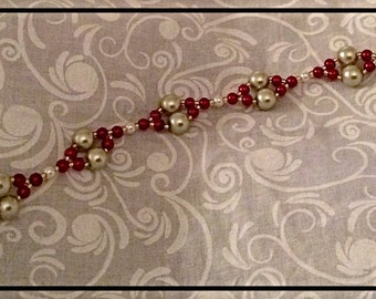Red and Champagne Glass Pearl Bracelet