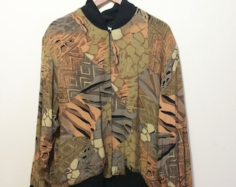 Amazing 90's Abstract print Oversized Soft Bomber