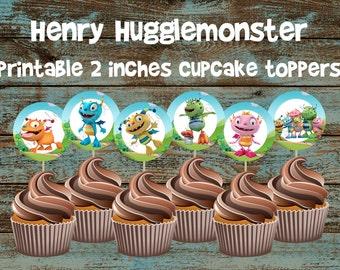 Henry Hugglemonster 2 inches printable cupcake toppers, Henry Hugglemonster Birthday, Henry Hugglemonster party, Henry Hugglemonster cake