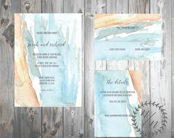 Orange and Blue Watercolor Wedding Invitation, Made to Order, Digital Download