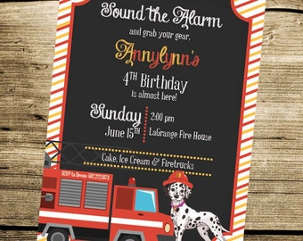 PRINTABLE Fire House - Dalmatian - Custom Birthday Invitation - Sound the Alarm - Fire Station - Fire - Girls Boys Birthday Party 4x6 or 5x7