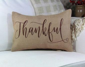 """Fall Pillow, Burlap Pillow- """"Thankful"""",  Thanksgiving Decor, Harvest Decor, Thanksgiving Pillow, Pillow Cover, Thankful Pillow"""