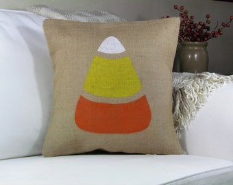 Burlap Pillow, Candy Corn, Fall Pillow, Harvest Decor, Thanksgiving Decor, Halloween Decor, Halloween Pillow, Pillow Cover, Insert Included