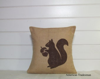 Burlap Pillow- Fall Decor, Thanksgiving, Squirrel, Woodland Nursery, Rustic Decor,