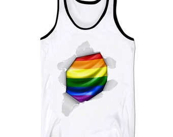 Love Wins Tank Top Vest #lovewins Gay Pride Ripped Paper LGBT Holiday Low Cut Vest