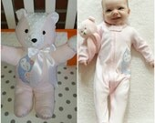 Memory bear from your baby's outfit, clothes,pajamas and blankets, custom bear.