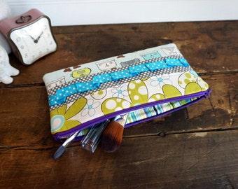 Make-up or Pencil Bag, Rectangle Zipper Bag, Lime, Grey and Aqua Mix of Fabrics
