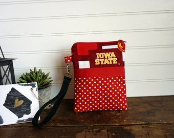 Iowa State Wristlet - Phone or Camera Zipper Bag Wristlet, Iowa State Cylones Phone Bag, Gadget Bag