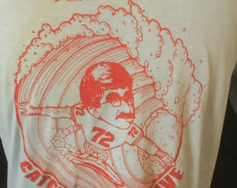Vintage 1980's Budweiser Surfing T-shirt Cartoon 50/50 Thin and Soft