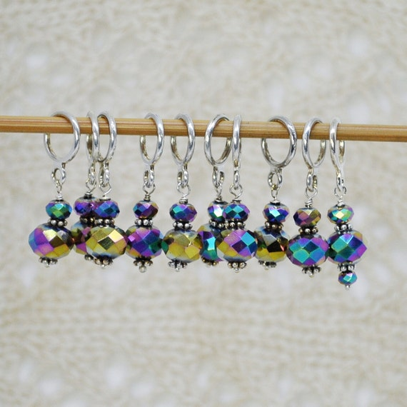 Lace Knitting Stitch Markers : Peacock Metallic Glass bead Stitch Markers / Stitch Markers for Knitting / La...