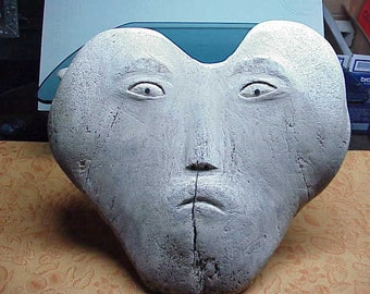 Orig fossilized Eskimo sculpture whale vertibrea 19x17x9 mask with feet museum piece #555
