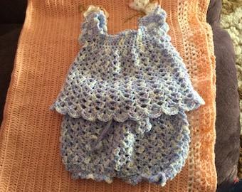 Newborn girls crochet top and bloomers