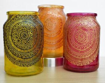 Hand painted Mandala inspired mason jars, candle holder, Moroccan decor, Tea Light holder, Mandalas, lantern, wedding decor, Boho Decor