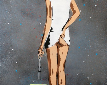 Painting Tennis Girl - On Canvas 60cm x 90cm