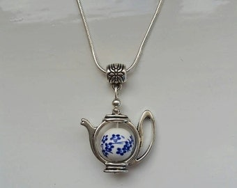 Small Blue Flower Necklace -  46cm (18inch) Teapot Jewellery
