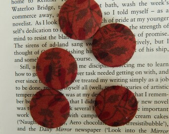 Set of 5 Brown Fabric Buttons, 25mm buttons, Cotton Fabric Buttons, Decorative Buttons, Fabric Covered Buttons, Floral Buttons