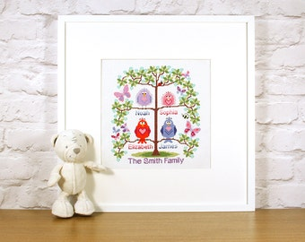 Family tree cross stitch for 4 - cute birds easy stitch fun modern design, anniversary / welcome a new baby - pattern PDF - INSTANT DOWNLOAD
