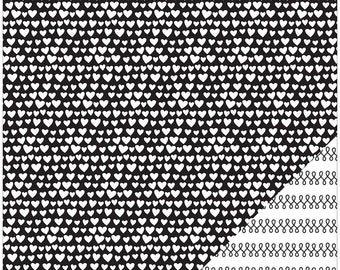 American Crafts Wedding Cardstock - Black with White Hearts