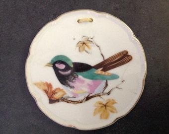 Vintage Mini Bird Plate Porcelain Japan MIJ Colorful Wren Sparrow Mid Century 2