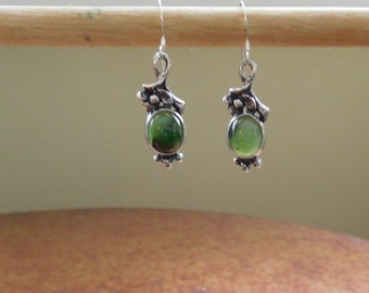 Silver and Jade danlge earrings.  French wire.  Vintage.  Boho Chic.  70's Flair.