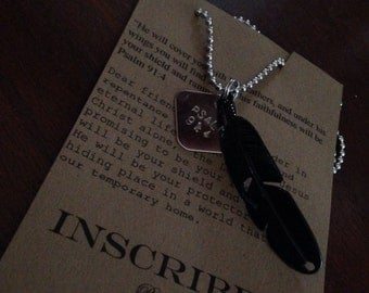 Hand stamped Psalm 91:4 black feather necklace