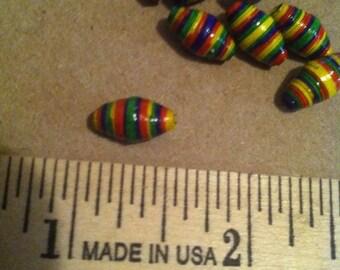 Handmade, Hand Painted Paper Beads. (8) in yellow, purple, orange, and green (Halloween)