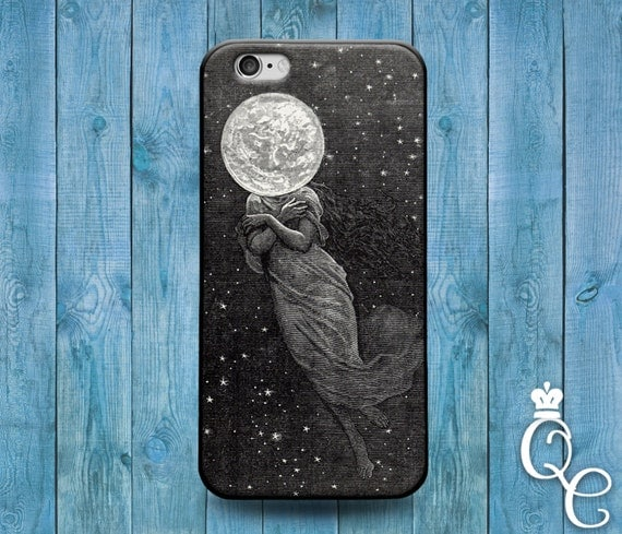 iPhone 4 4s 5 5s 5c SE 6 6s 7 plus iPod Touch 4th 5th 6th Generation Lunar Moon Cover Cute Artsy Punk Space Head Dress Custom Grey Cool Case