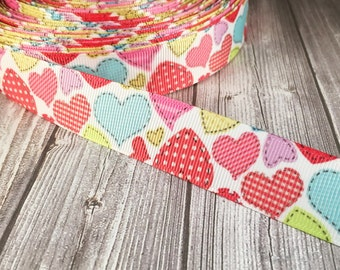 """Valentine hearts - Fabric heart - Patch ribbon - Valentine ribbon - 7/8"""" Grosgrain ribbon - 3 or 5 yards - Blue heart - Red heart"""