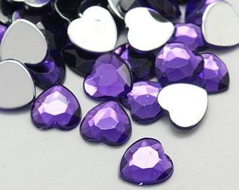 Purple rhinestones - Heart rhinestones - 18mm - Set of 20 - Crafting gems- Hair bow DIY - Crafting supplies - Acrylic hearts - Heart gems