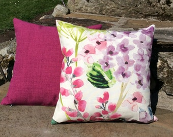 Floral Hedgerow & Pink Cushions