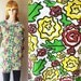 Tunic Sweatshirt Graphic Floral Roses Yellow Green Burgundy Vintage mtv new wave 80s 1980s eighties knit pullover Blossom size large 16