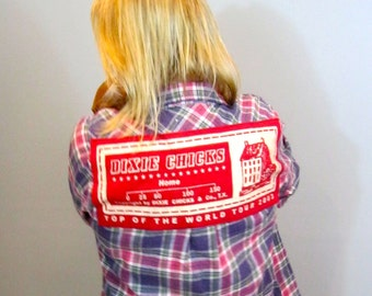 Dixie Chicks !! Flannel Shirt!    Vintage Flannel + Vintage Tee = Flanneltees!