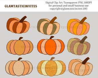 Pumpkin Clipart For Personal and Commercial Use, Digital Clip Art, Instant Download, fall, fall harvest, autom, pumpkins, clip art