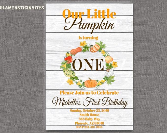 Pumpkin Birthday Invitation, Fall Birthday Invitation, Pumpkin Invitation, First Birthday, Any Age, Halloween Birthday, Little Pumpkin