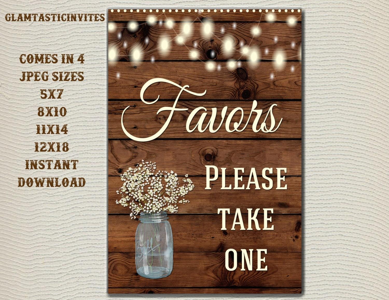 Favors Wedding Favors: Rustic Favors Sign Wedding Favors Sign Baby Shower Favors