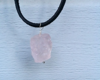 Simple Rose Quartz Crystal Healing Choker/Necklace