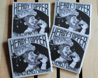 The Alchemist Heady Topper Set of 4 Craft Beer Coasters from Upcycled beer stickers. Beer coasters. Beer Gifts. Groomsmen gifts.