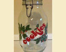 Vintage Christmas Cookie Jar, Vintage Mason Jar Christmas Cookie Jar, 3 L Mason Jar Cookie Jar, Vintage Holiday Cookie Jar With Holly